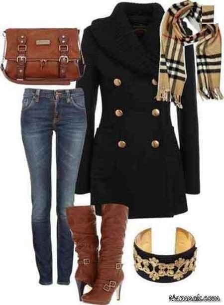 مانتو شلوار زمستانی با ست کیف و چکمه