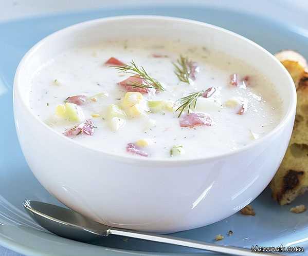 سوپ سرد ، سوپ سرد خیار ، آشپزخانه نمناک ، پیش غذا تابستانی