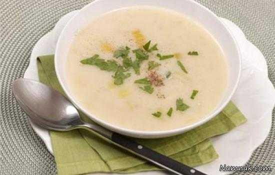 سوپ سفید ، طرز تهیه سوپ سفید خوشمزه ، نمناک ، namnak