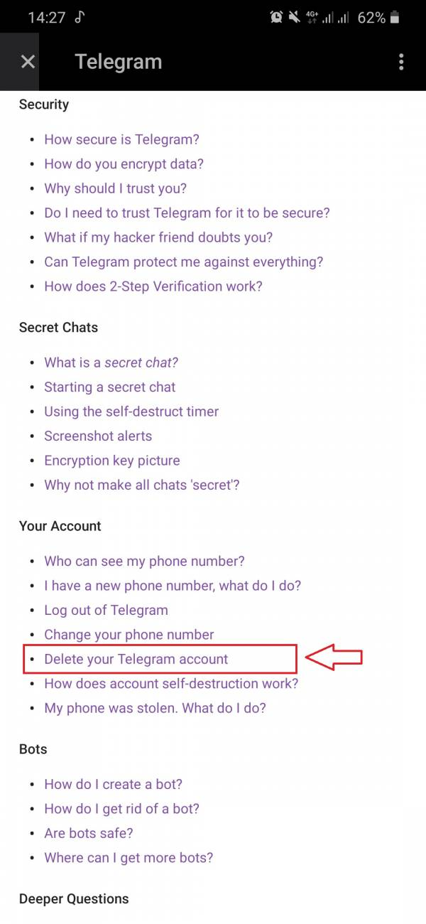 برنامه دیلیت اکانت تلگرام
