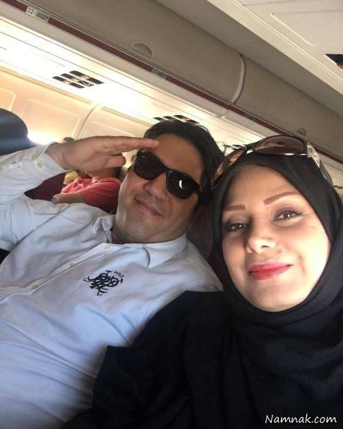 صبا راد و همسرش مانی رهنما در هواپیما