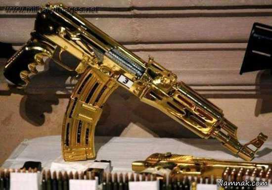 کلکسیون اسلحه های طلایی صدام + تصاویر