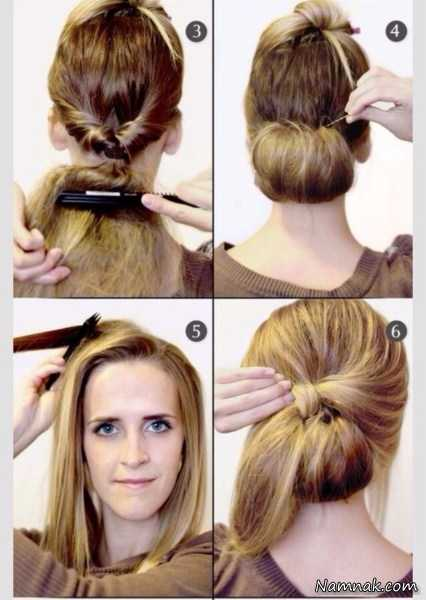 آموزش 2 شینیون فوری برای موهای کوتاه و کم پشت